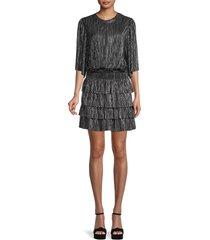 iro women's metallic tiered blouson dress - black silver - size 32 (0)