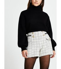 river island womens petite cream boucle shorts