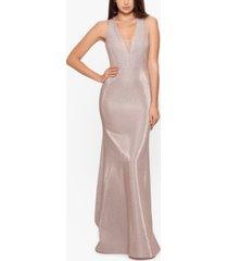 betsy & adam v-neck glitter gown