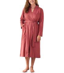 coyuchi solstice organic cotton jersey relaxed robe, size medium - pink