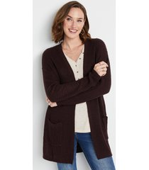 maurices womens brown waffle knit cardigan