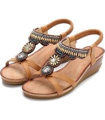 sandalias de mujer sandalias de cuña con cuentas de punta abierta para