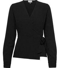 heavy crepe blouse lange mouwen zwart ganni