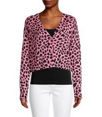 525 america women's animal-print cotton cardigan - pink black multi - size m