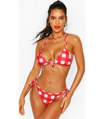 gingham triangle tie side bikini, red