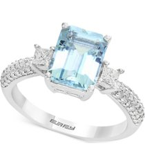 gemstone bridal by effy aquamarine (2-1/4 ct. t.w.) & diamond (3/8 ct. t.w.) ring in 18k white gold
