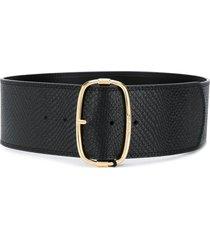twin-set textured leather belt - black