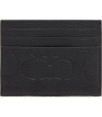 coach men's signature leather card case - black