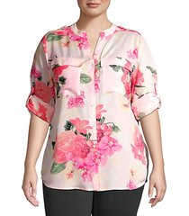 plus floral roll-sleeve blouse