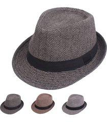 cappello caldo da uomo con visiera antivento in cotone casual a spina di pesce per uomo