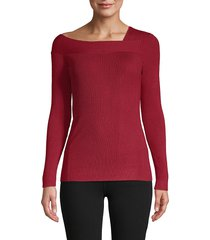 donna karan women's asymmetrical neckline sweater - garnet - size xl