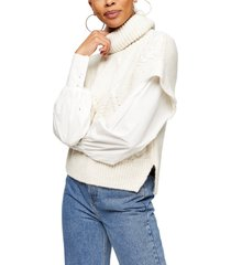 women's topshop mixed media cable knit sweater, size large - ivory