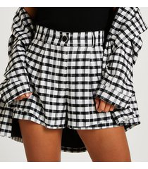 river island womens petite black check print shorts