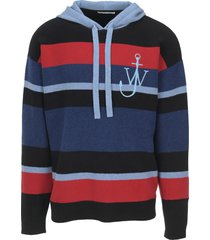 jw anderson striped logo hoodie