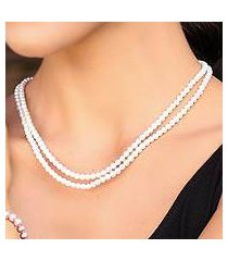 cultured pearl strand necklace. 'snowflake halo' (thailand)