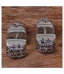 amethyst stud earrings, 'one thousand hopes' (indonesia)