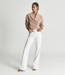 reiss astrid - shawl collar loungewear sweatshirt in camel, womens, size l