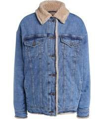 denim jas met faux fur megan  blauw