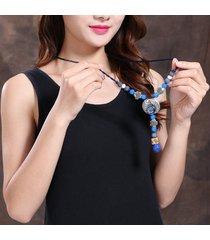 collana girocollo in maglia lunga stile vintage blu invecchiato per le donne