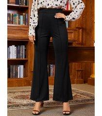 yoins cremallera negra diseño perneras anchas de talle alto pantalones