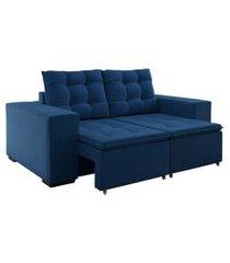 sofá 3 lugares retrátil e reclinável monte verde veludo azul marinho 200 cm