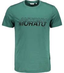antony morato t-shirt round collar with front print emerald 4054 groen