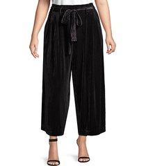plus textured wide-leg velvet pants