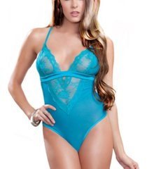 icollection women's contrast lace and mesh bodysuit