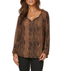 women's nydj peasant blouse, size large - brown