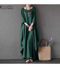 zanzea para mujer cuello redondo vestido de la camisa 3/4 manga del batwing holgado largo maxi casual del partido kaftan sólido tamaño del traje vestido plus -verde