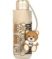 moschino designer umbrellas, supermini scribble bear umbrella w/bear charm