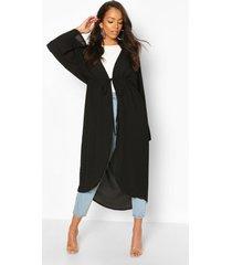 kimono met brede mouwen en ceintuur, zwart