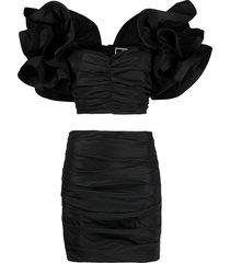 elisabetta franchi ruffled-sleeve draped skirt suit - black