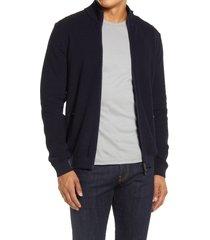 men's brax john wool blend zip cardigan, size xx-large - blue