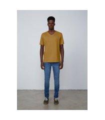 camiseta masculina básica manga curta gola v - amarelo