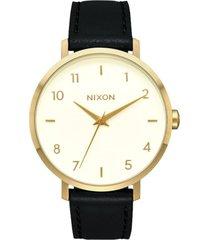 reloj arrow leather gold cream black nixon