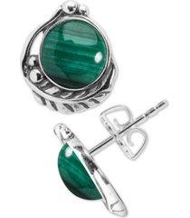 american west malachite feather stud earrings in sterling silver