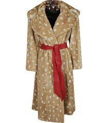 fur applique belted coat