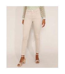 calça de sarja feminina cintura alta super skinny kaki