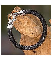 leather and sterling silver bracelet, 'whip' (indonesia)