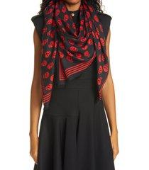women's alexander mcqueen skull print modal scarf, size one size - black