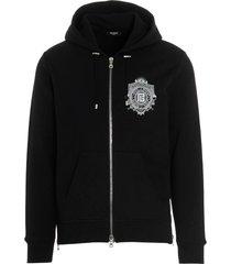 balmain crest logo hoodie