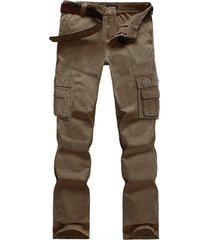 los hombres carga casual pantalón con cintura media monos de varios bolsillos con cremallera volar 40