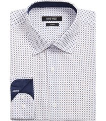 nine west men's slim-fit performance stretch diamond dot-print dress shirt