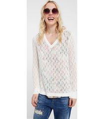 fine knit sweater wheat stitch - white - xl