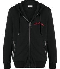alexander mcqueen embroidered logo zip-up hoodie - black