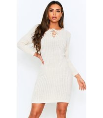 knitted tie front midi dress, stone