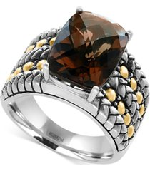 effy smoky quartz statement ring (6 ct. t.w.) in sterling silver and 18k gold