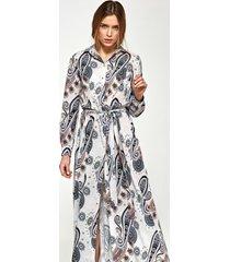sukienka maxi z długim rękawem we wzór