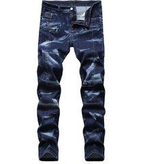 hombre fashion tie dye print zipper fly jeans
